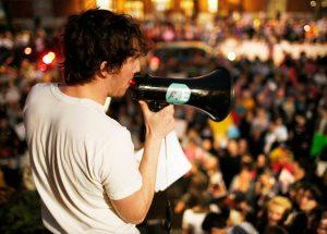 Jesse Houle with a megaphone